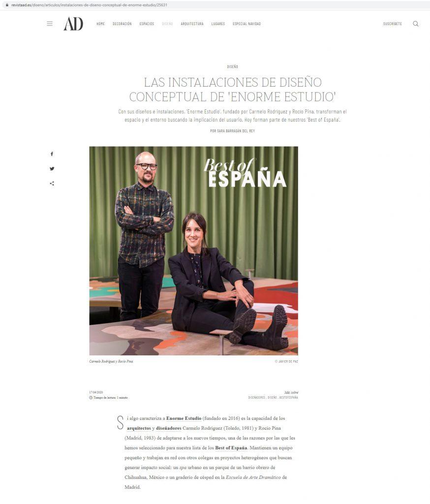 AD Spain ˙ Mesa de muestras Finsa - Enorme [Abril 2020]