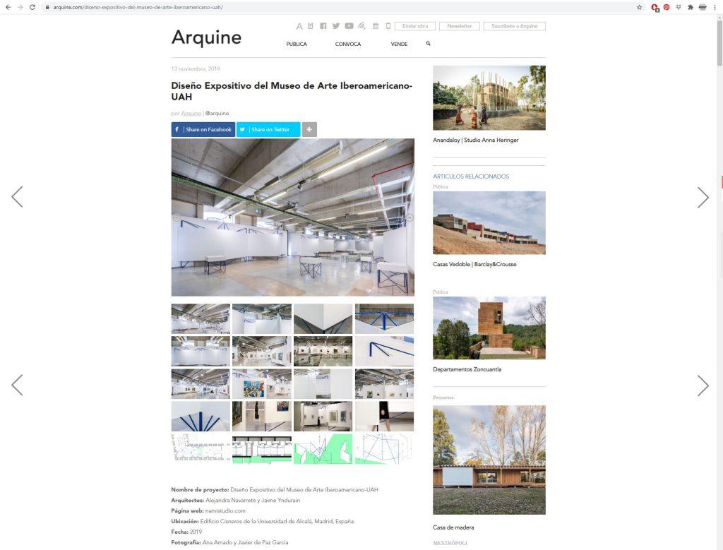 ARQUINE Dise§o Expositivo UAH ˙ Alejandra Navarrete + Jaime Yndurain [Noviembre 2019] Mexico