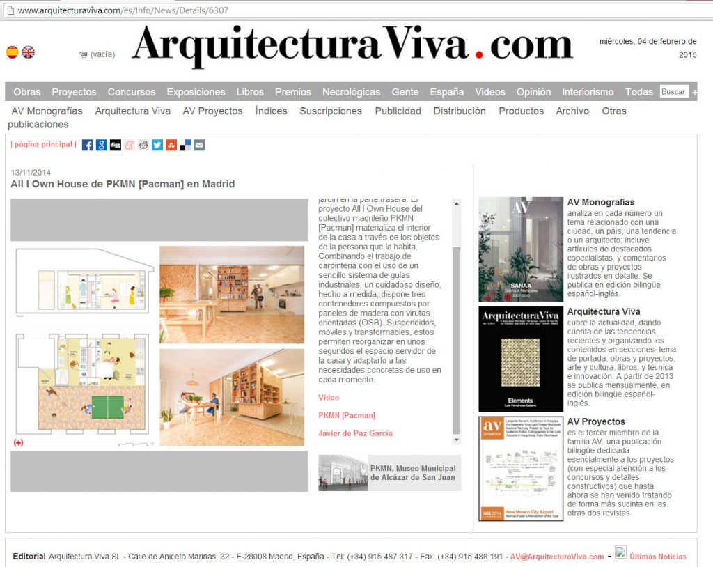 ARQUITECTURA VIVA - All I own house - PKMN [2015] Espa§a