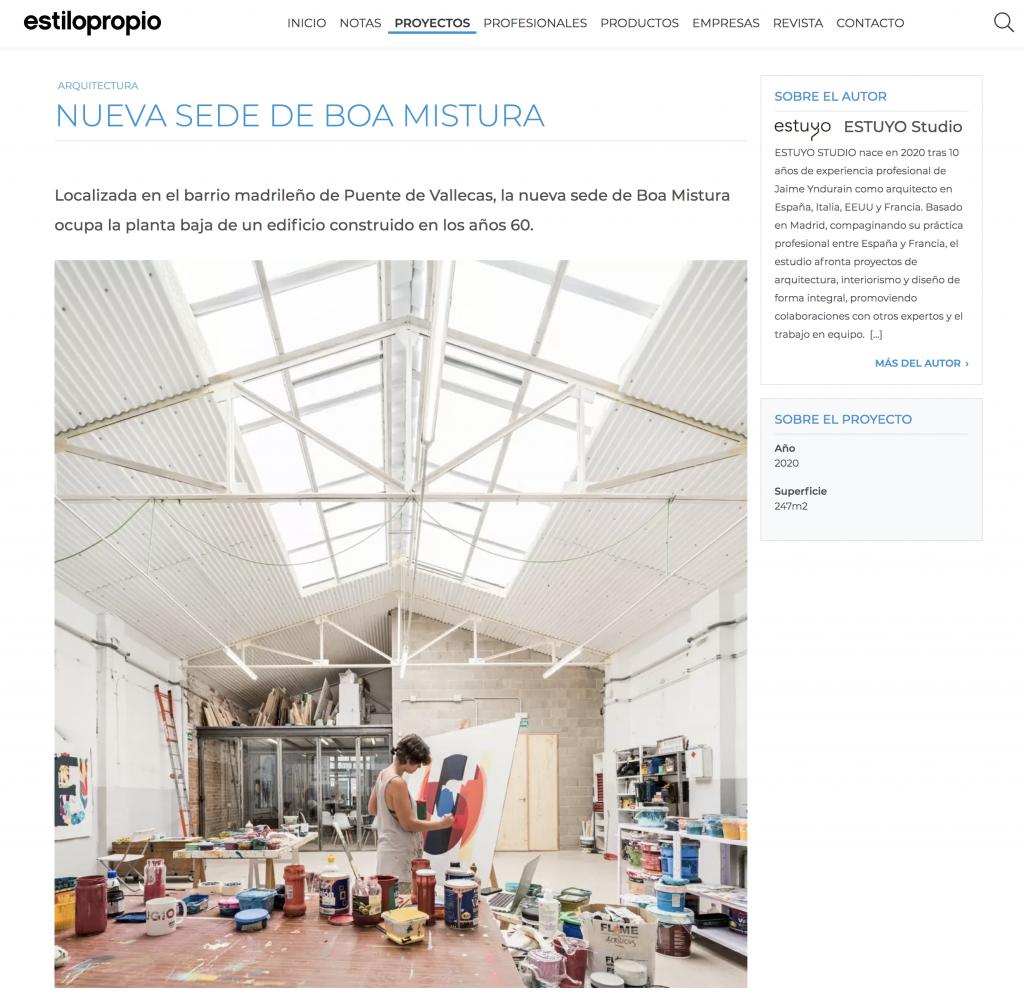 ESTILO PROPIO - Boa Mistura Headquarters - Estuyo Estudio [2020] España